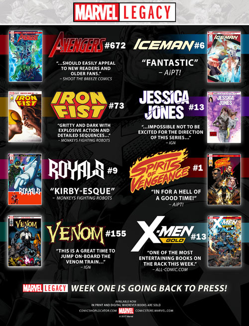 Marvel Legacy Rushed To Second Printings - Comic Shop Locator